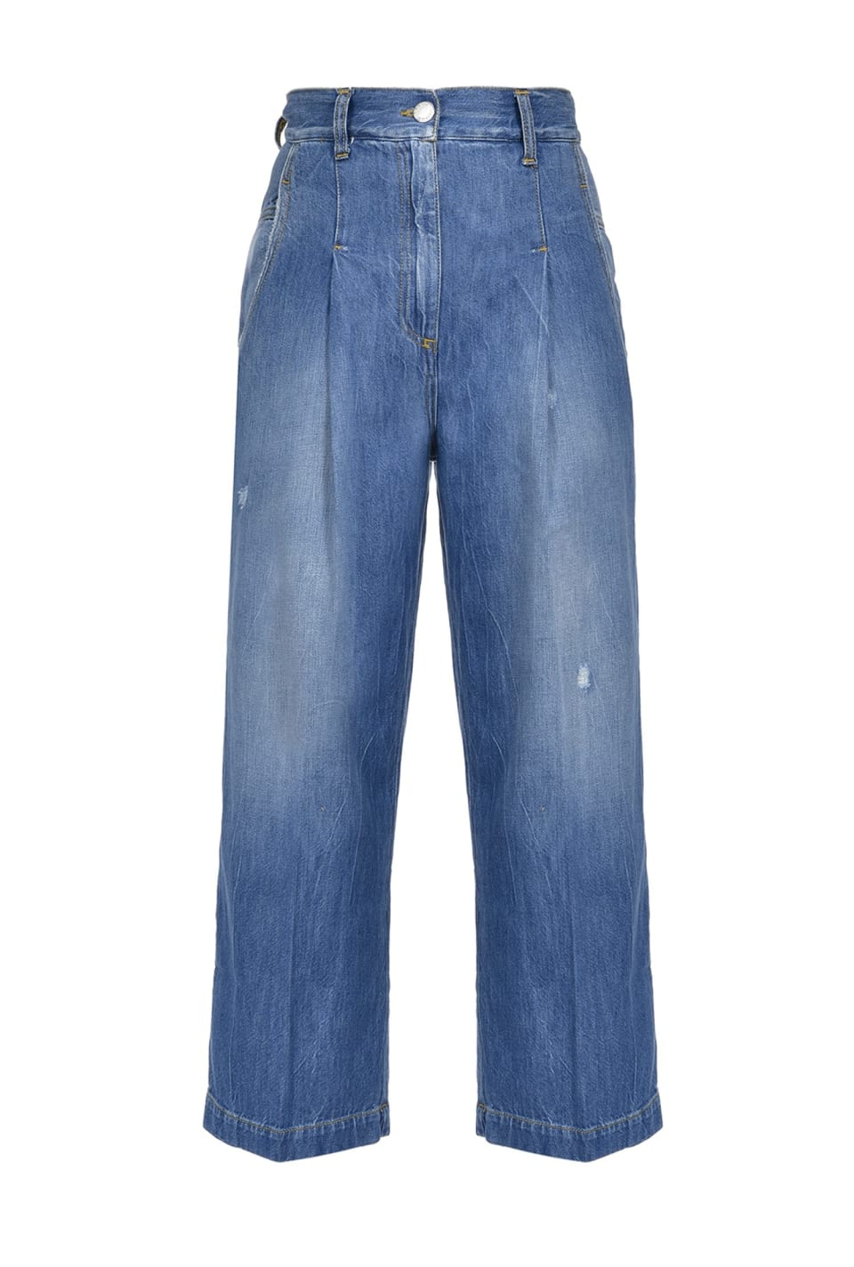 Culotte-style jeans in loosely woven twill