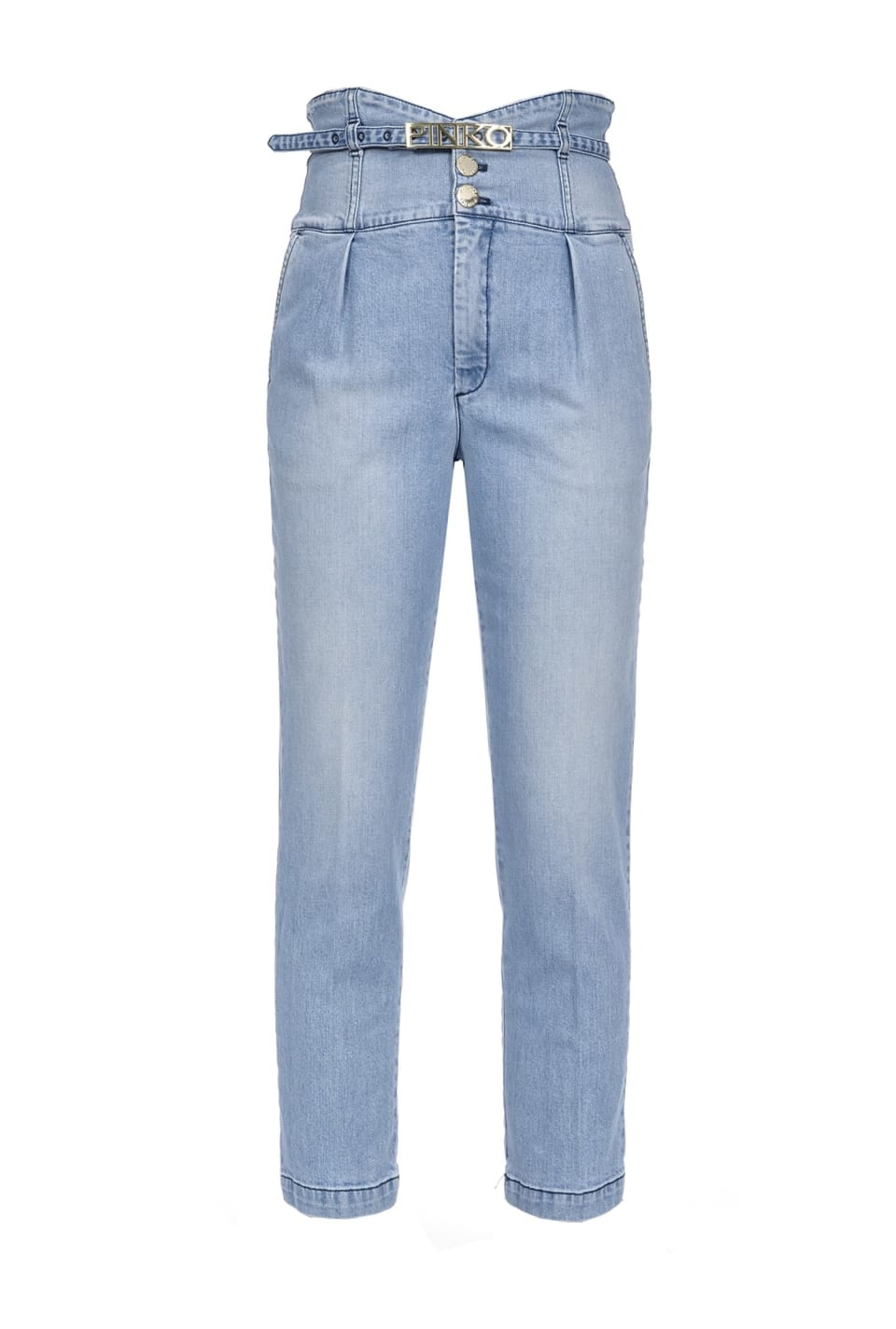 Chino-Jeans mit hoher Taille in Miederoptik