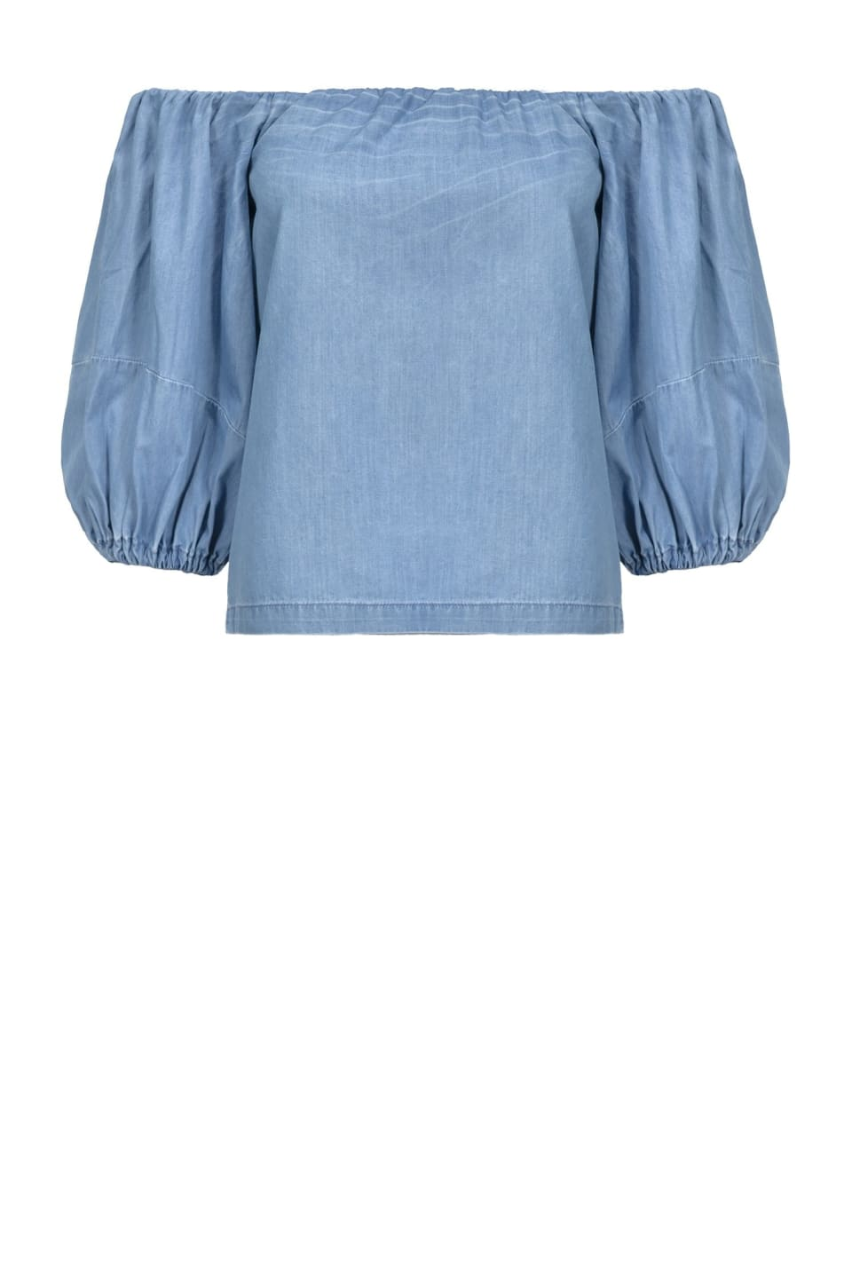 Blusa denim off-shoulders