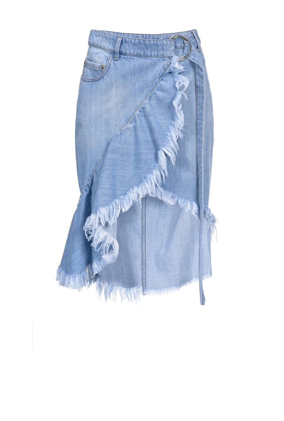 Midi-length jeans skirt