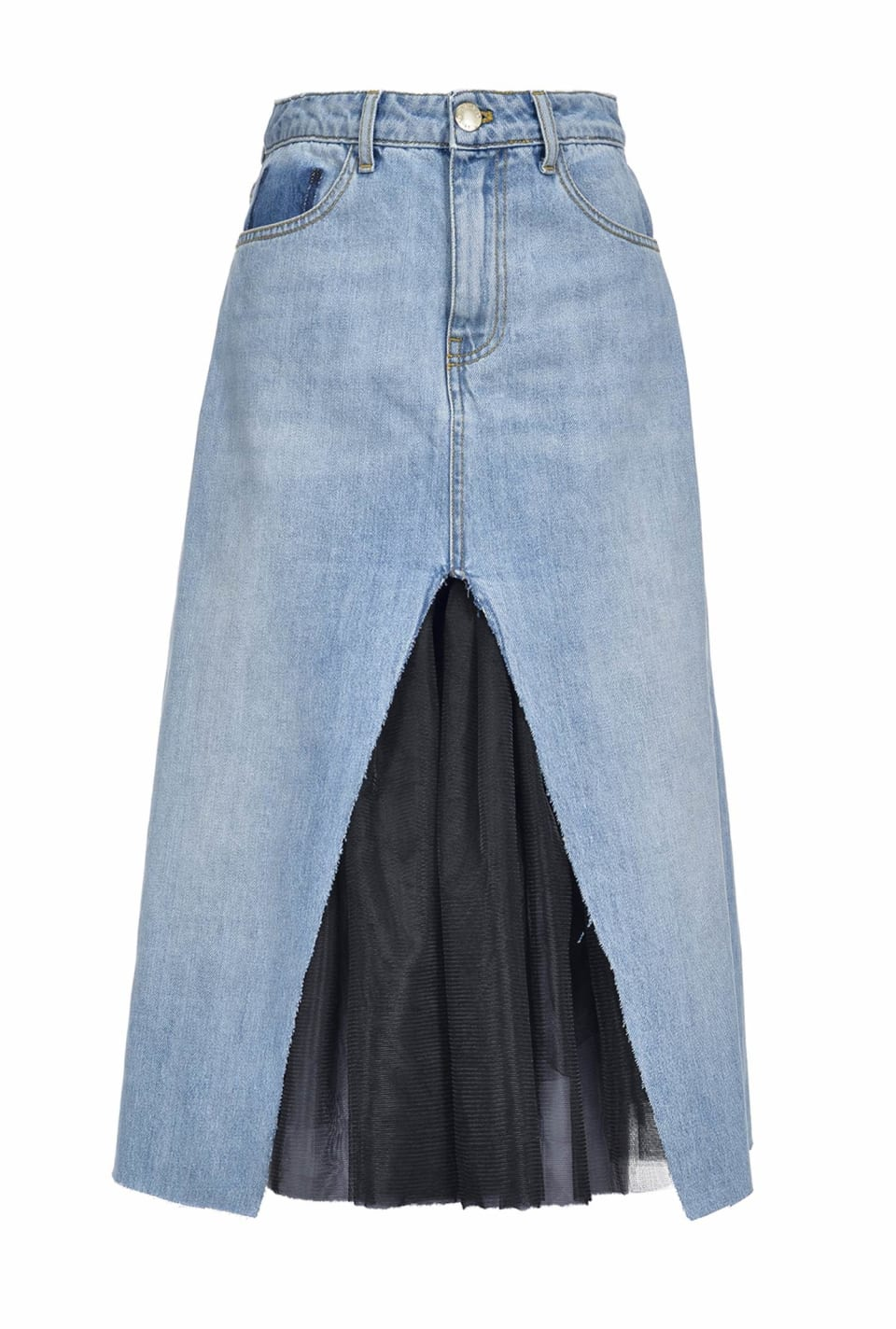 Denim and tulle skirt