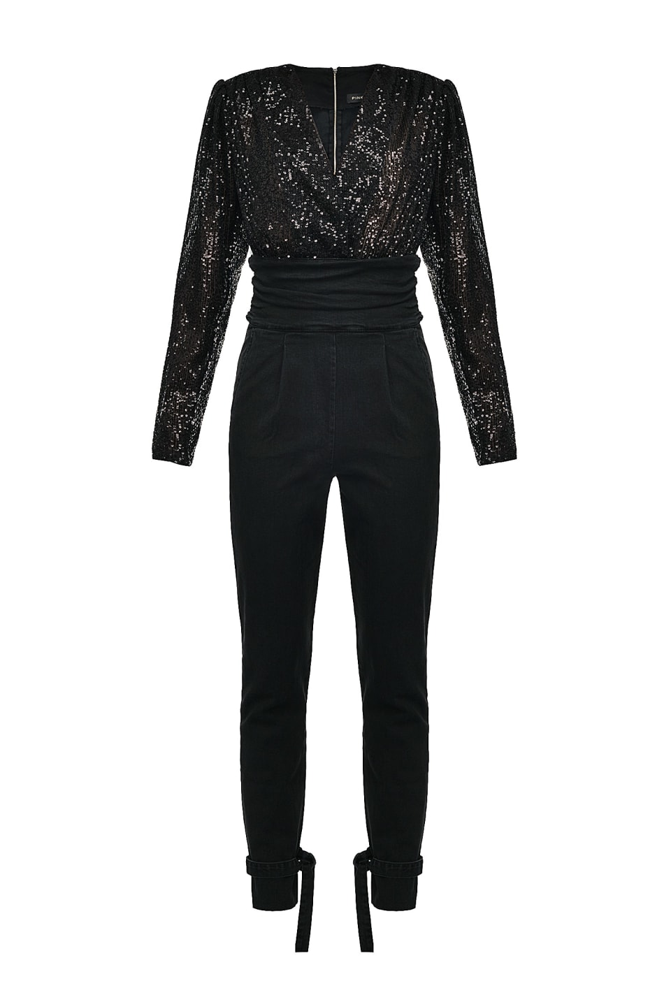 Jumpsuit in black comfort denim and sequins