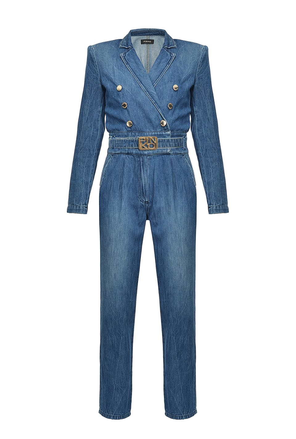 Total denim double-breasted jumpsuit