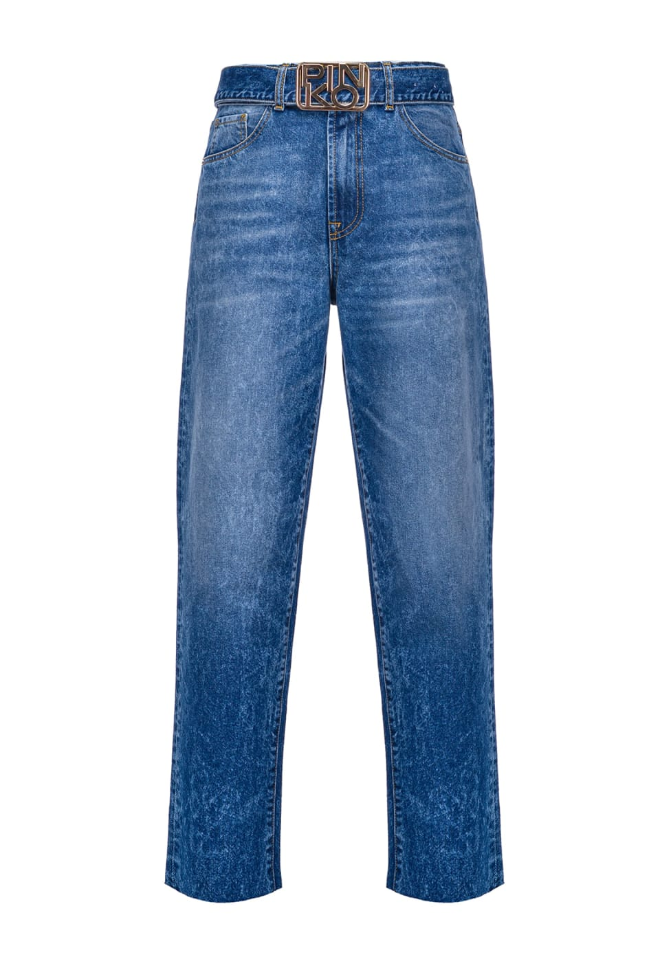 Mom-Fit-Jeans mit Authentic-Wash und Logoschnalle - Pinko