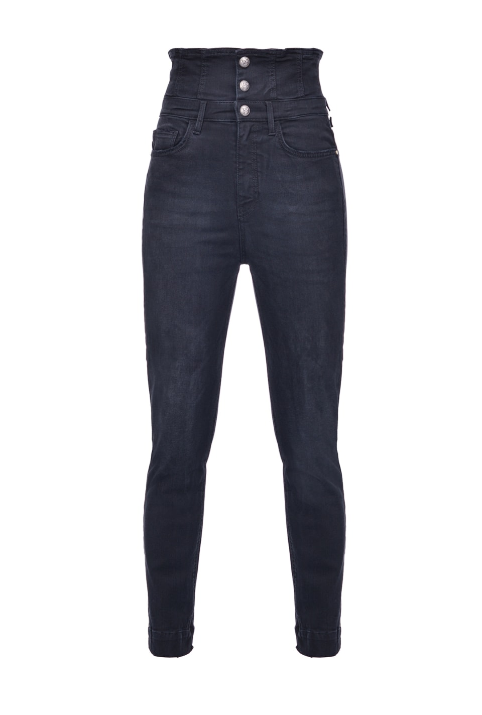 Skinny super high-rise jeans in black power stretch denim