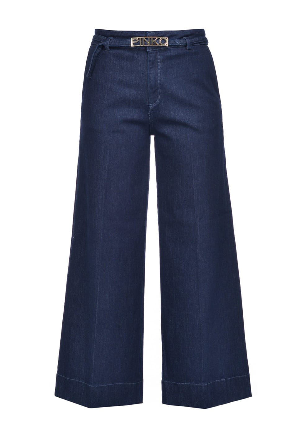 Jean palazzo slim en twill denim stretch