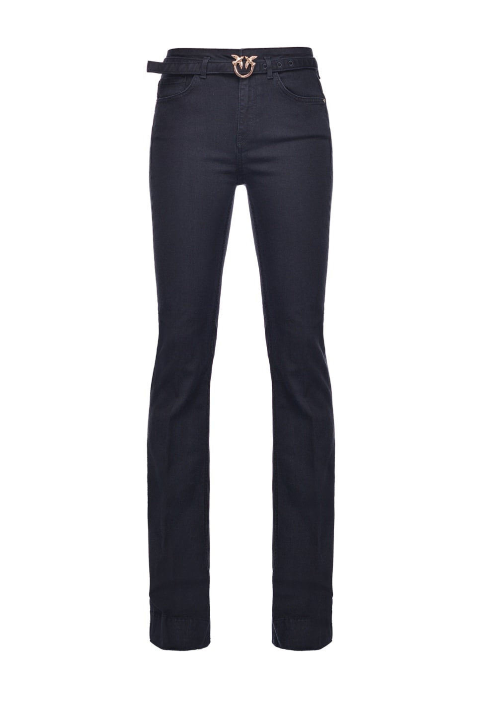 Flared jeans in black stretch denim with belt