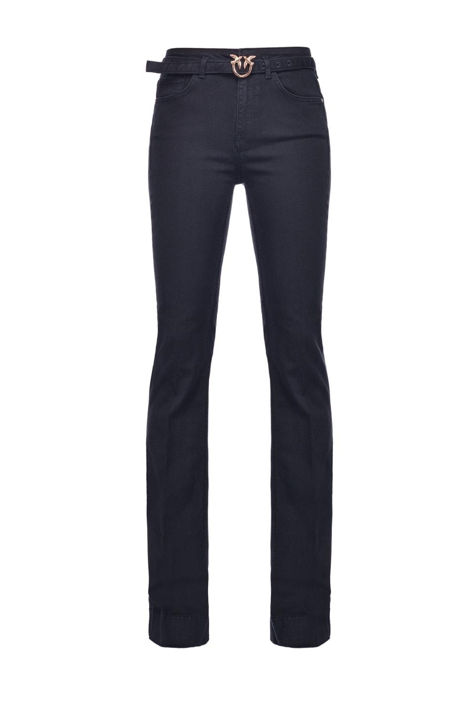 Schwarze Flare-Jeans aus Stretch-Denim mit Gürtel - Pinko