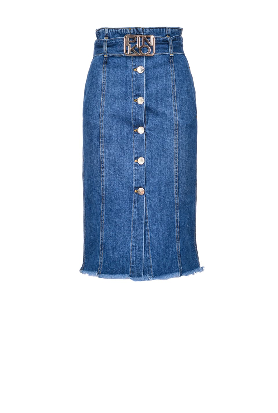 Midi-length vintage denim skirt