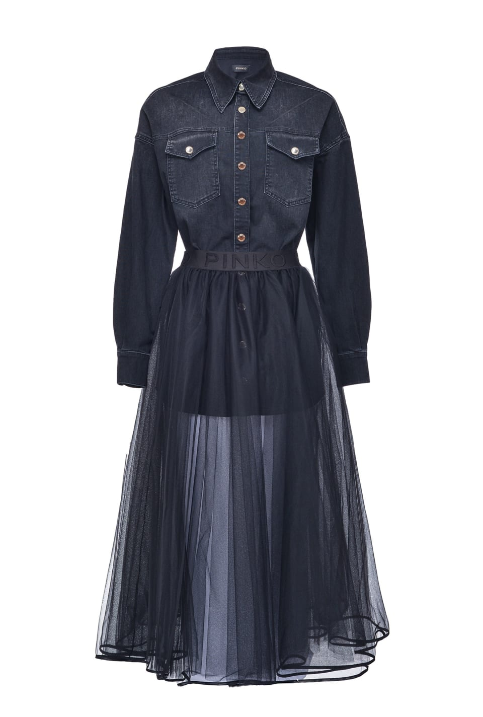 Abito due pezzi in denim con gonna in tulle - Pinko