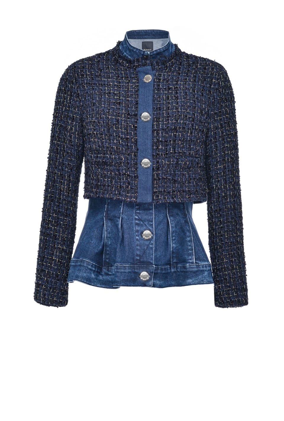 Two-piece jacket in denim and tweed - Pinko