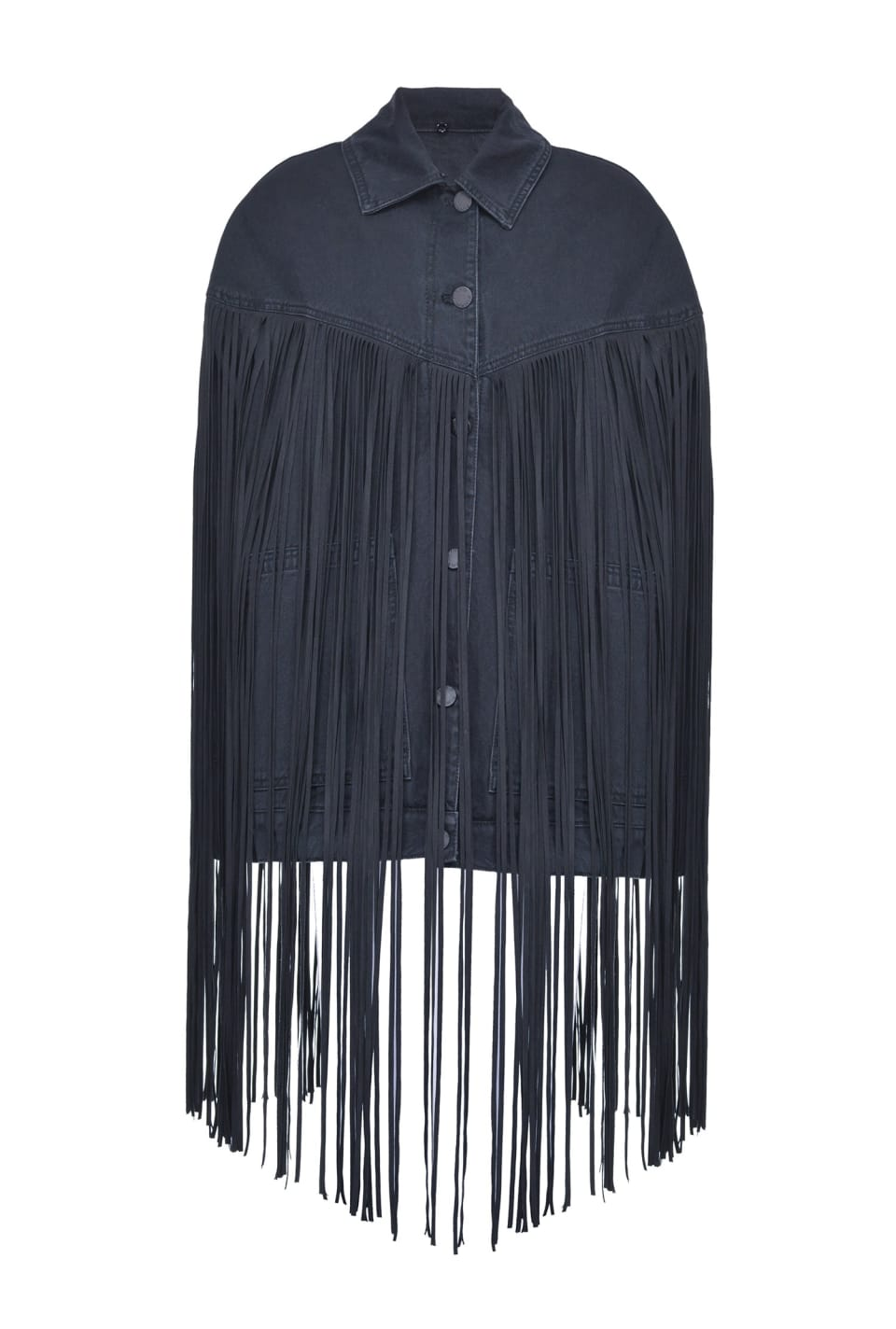 Oversize pea jacket in denim with fringing