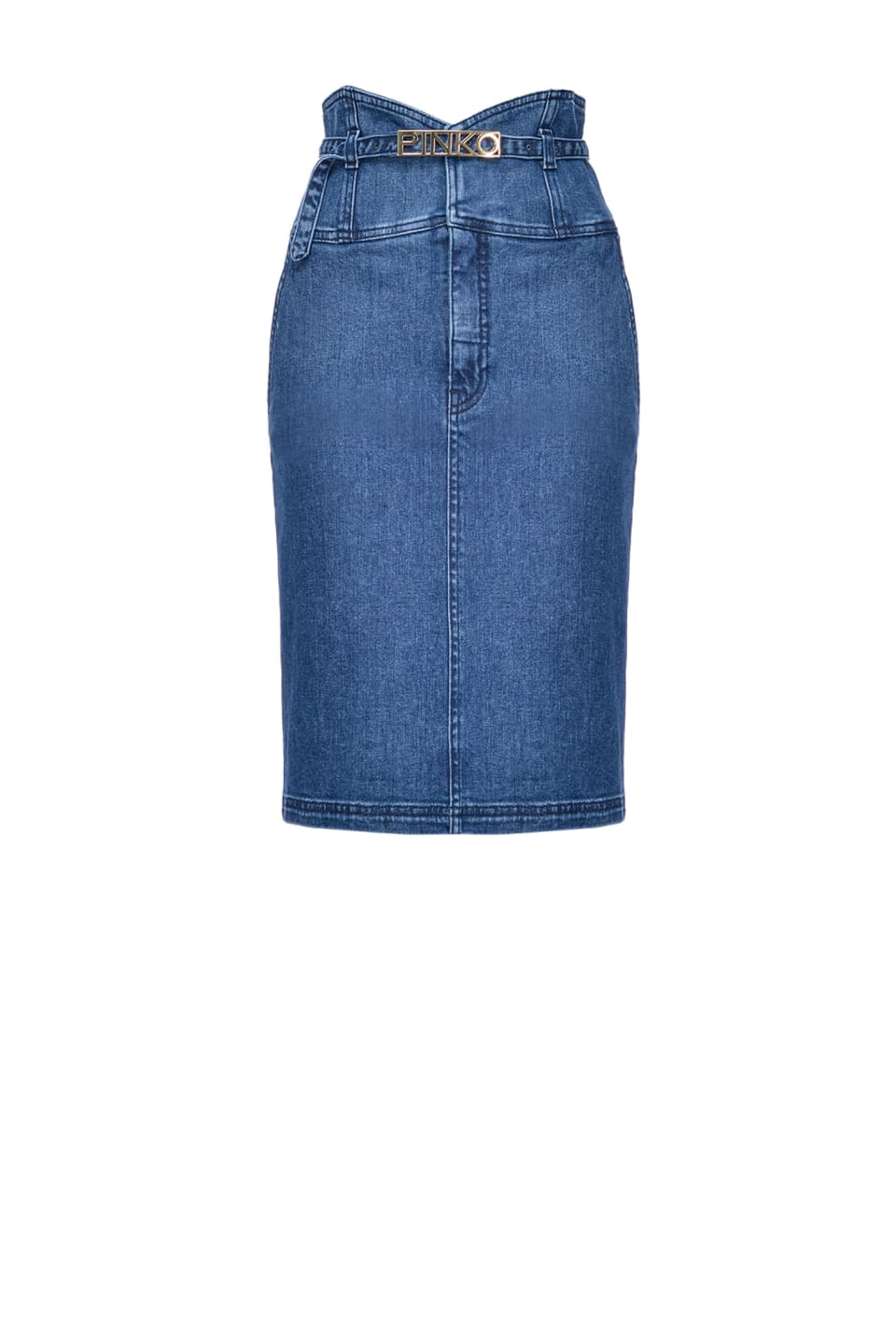 Midi-length bustier skirt in comfort denim