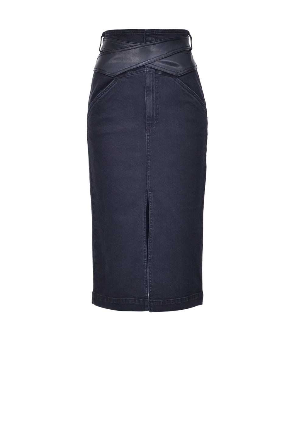 Midi-length denim skirt with leather-look belt