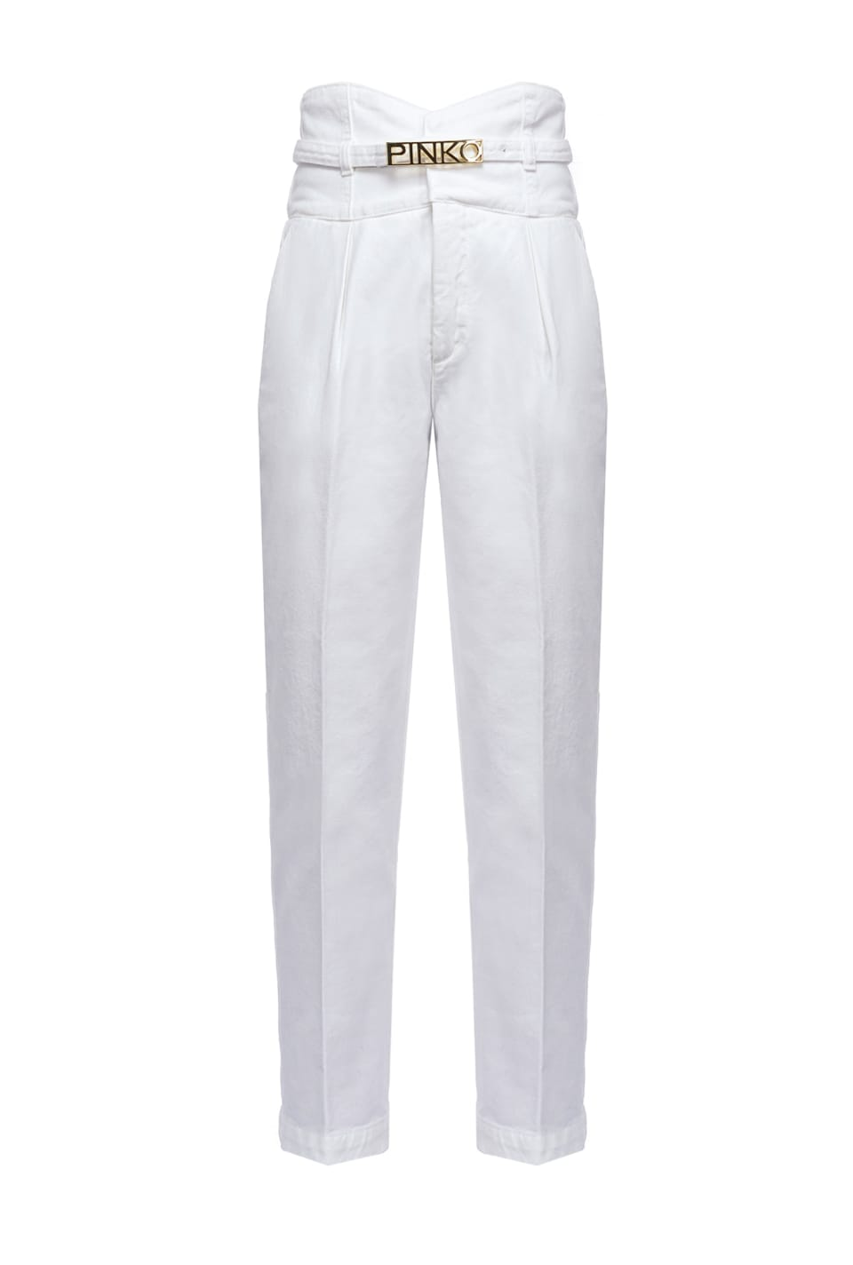 High-waist chino trousers and belt