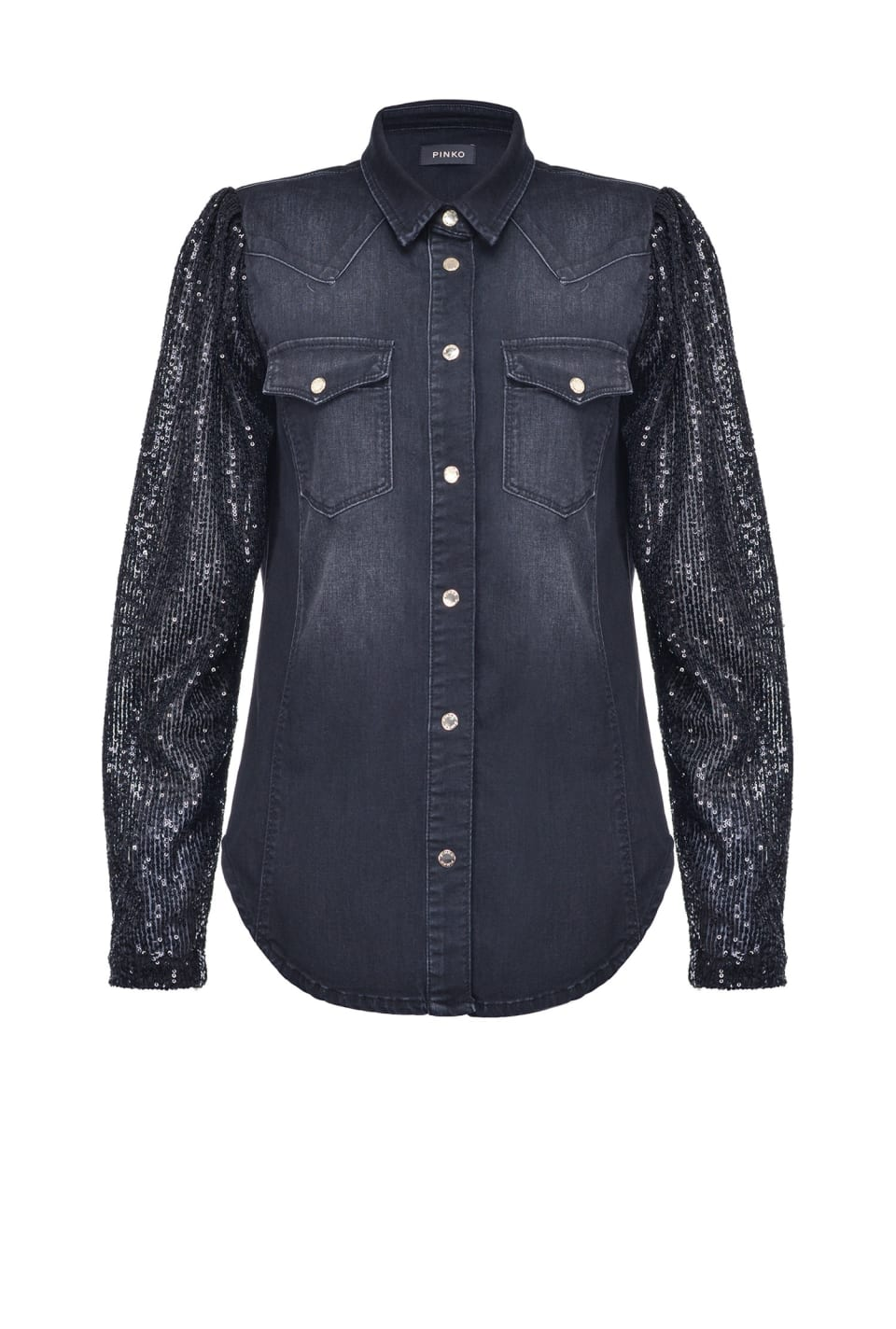 Denim shirt with sequin sleeves