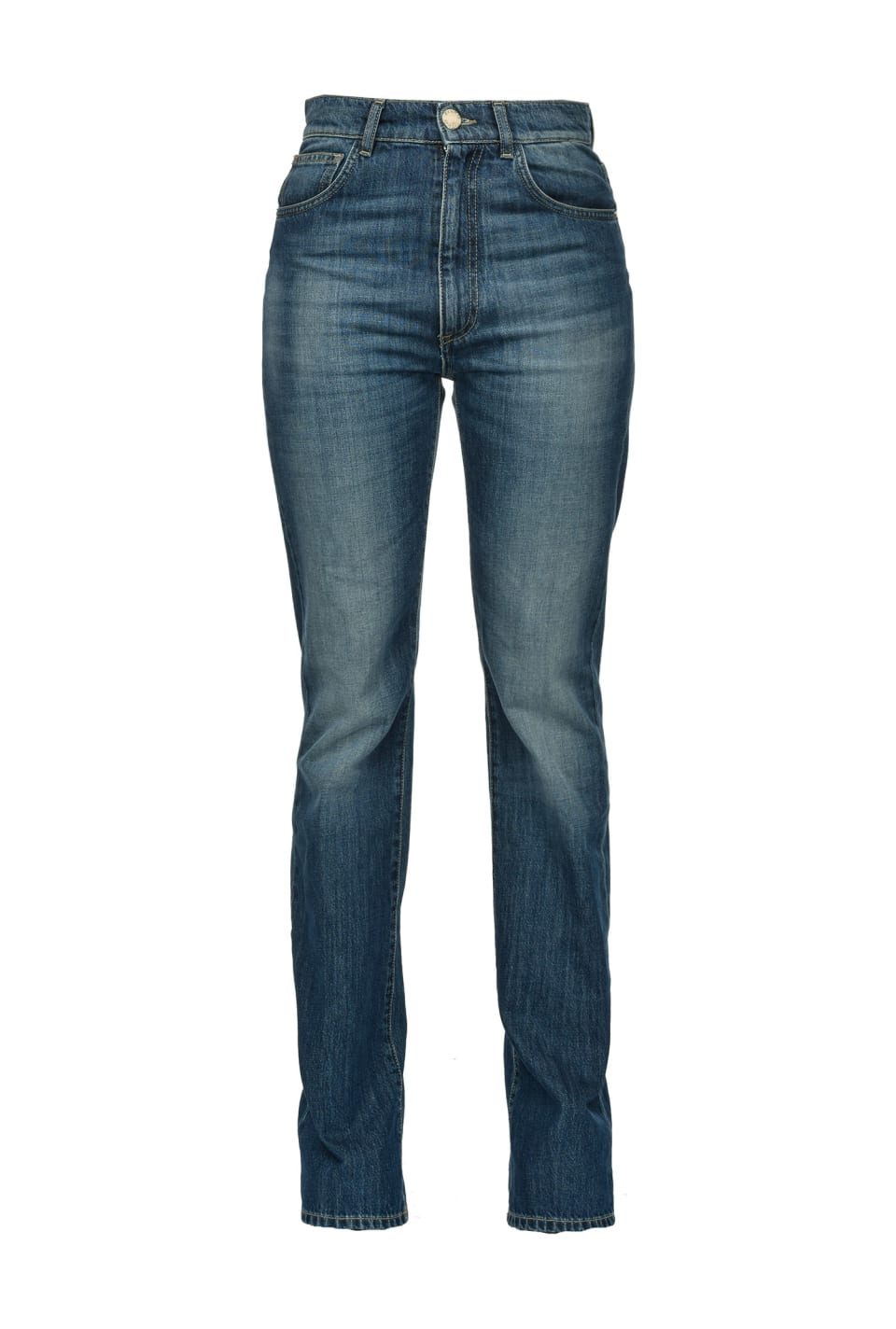 Straight jeans in blue stretch denim