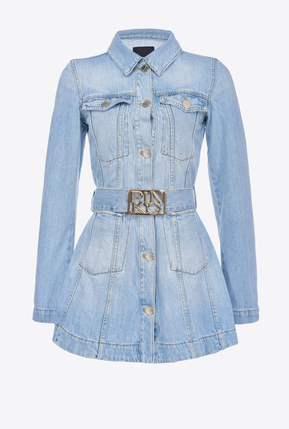 Denim shirt jacket with Logo buckle - Pinko