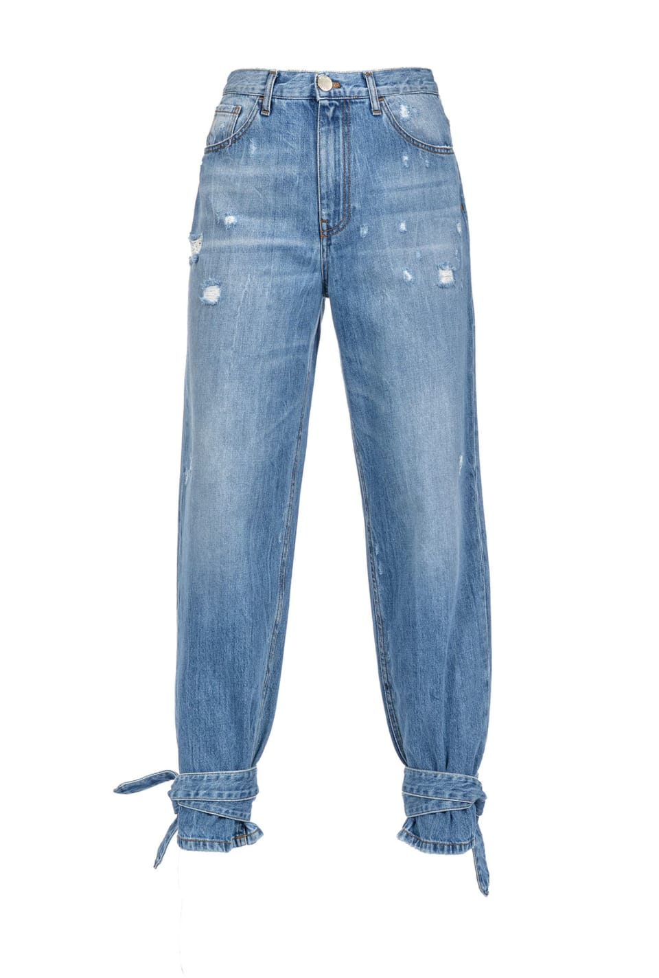 Mom-fit jeans with ankle strap effect