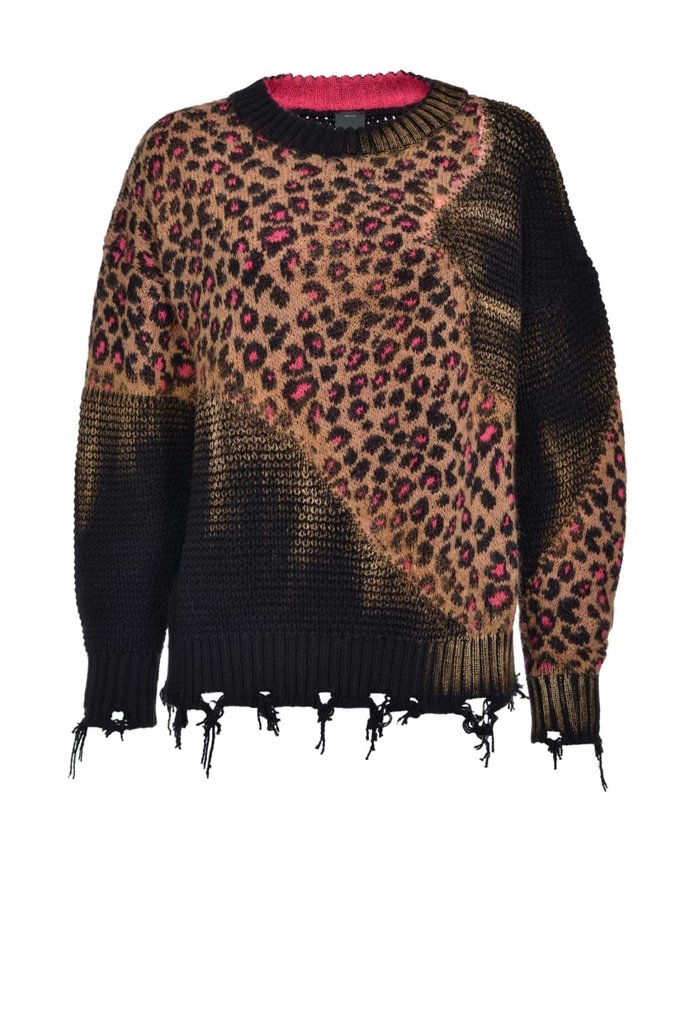 Animal pattern jacquard pullover