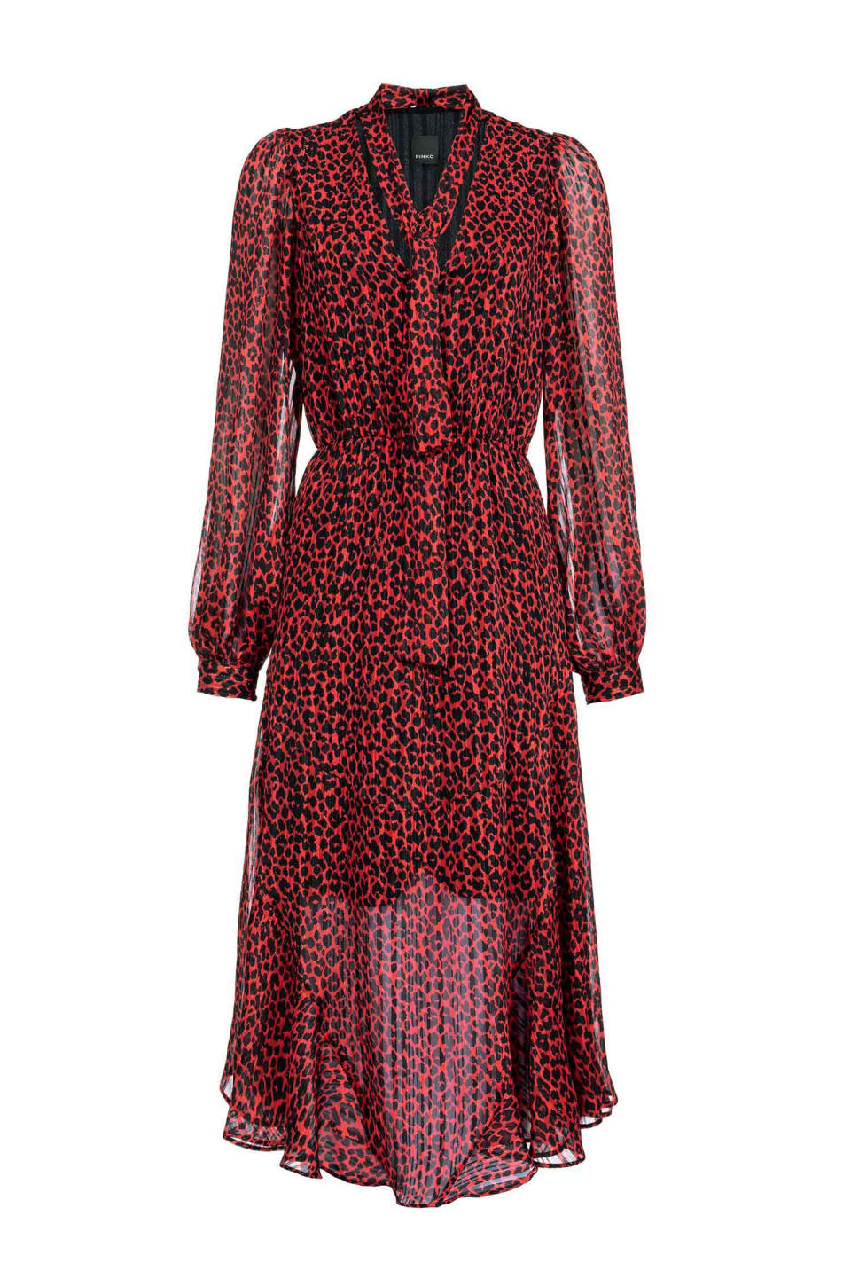 Red animal pattern jacquard dress