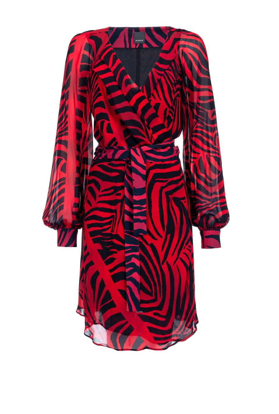 Red zebra print dress