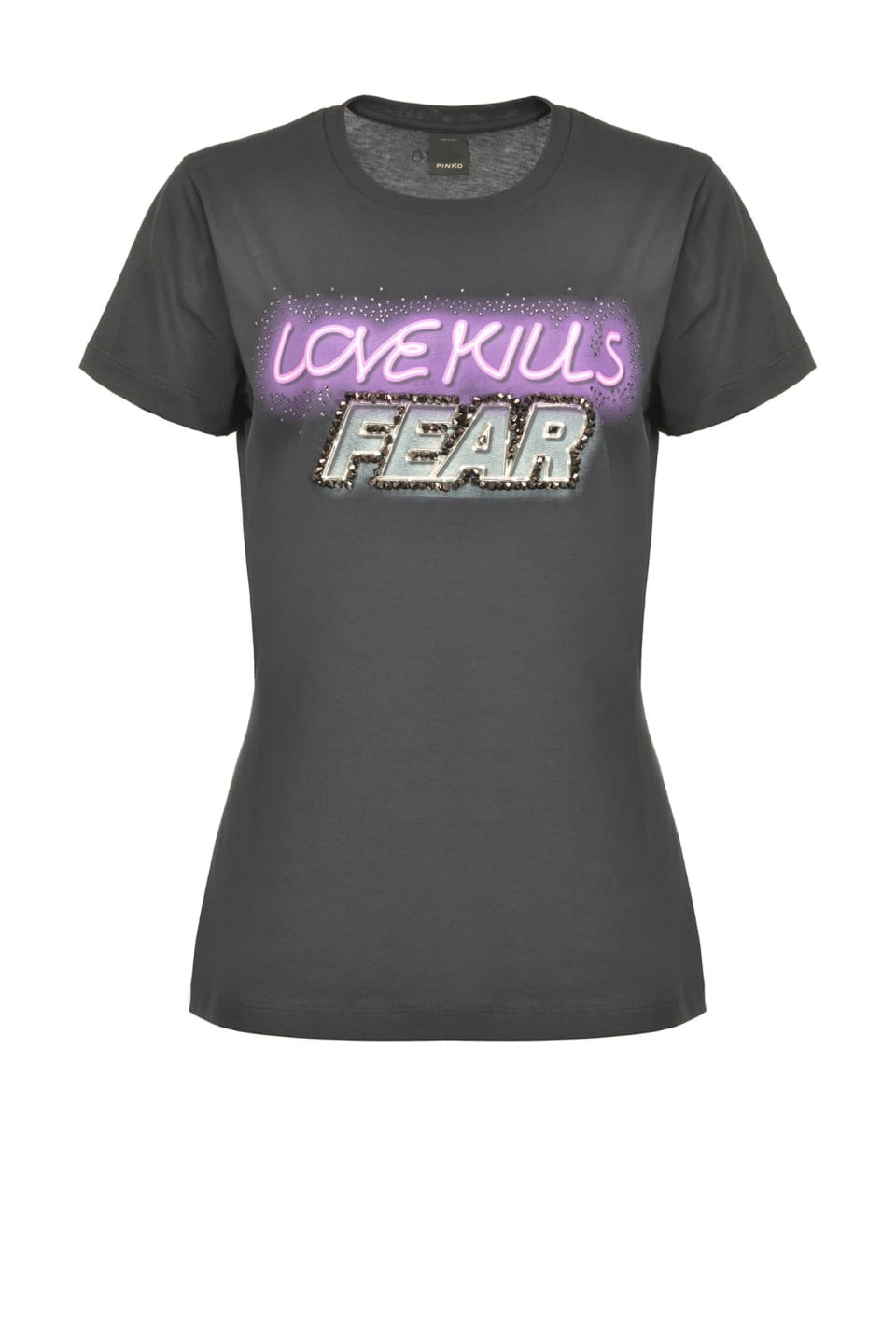 Love Kills Fear T-shirt with rhinestones