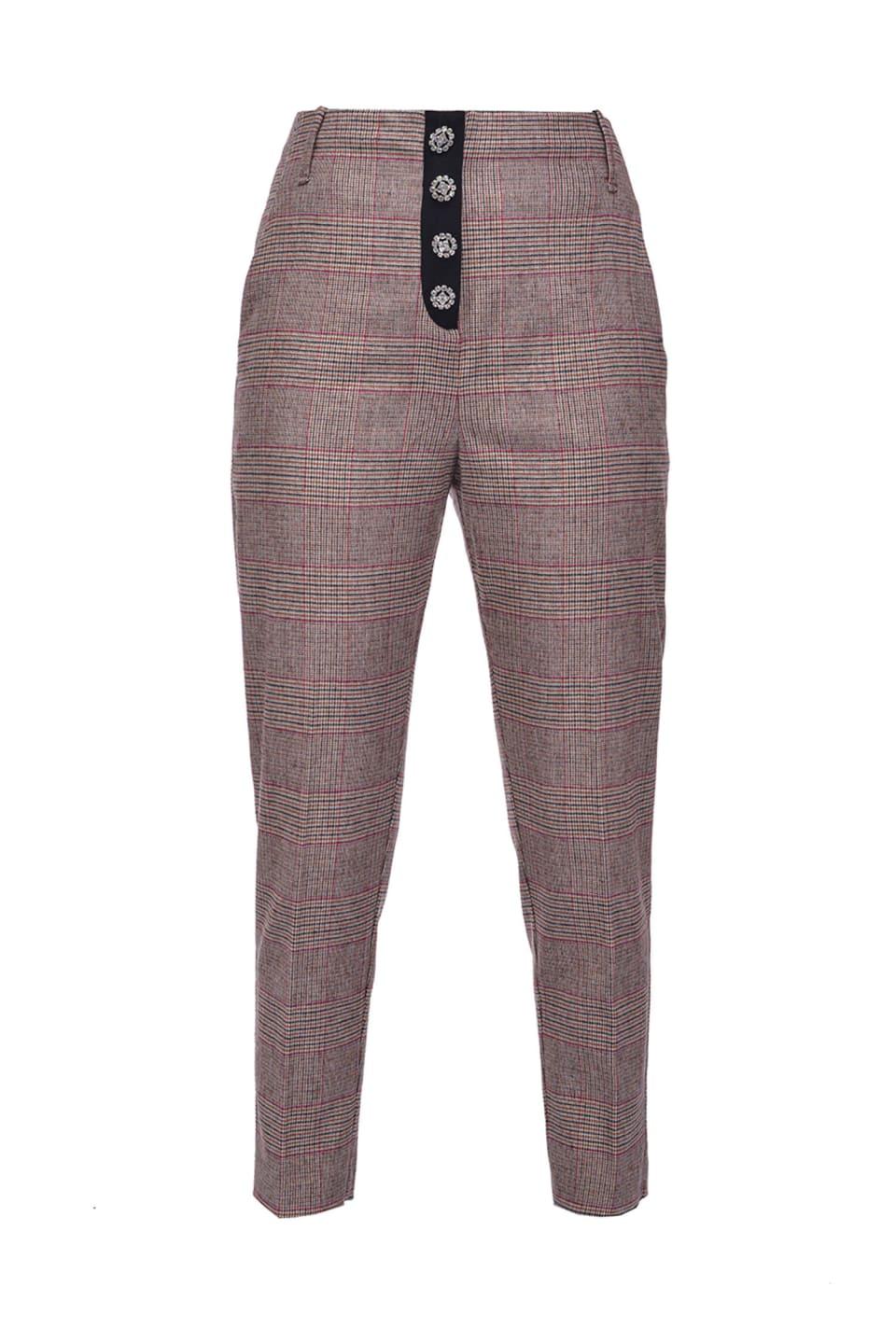 Pantalones con motivo Príncipe de Gales esmerilado