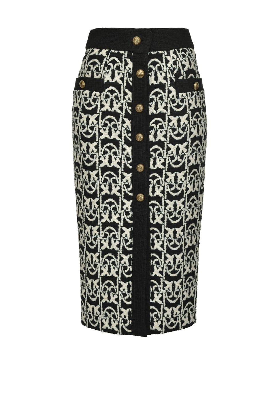 Monogram tweed midi-length skirt