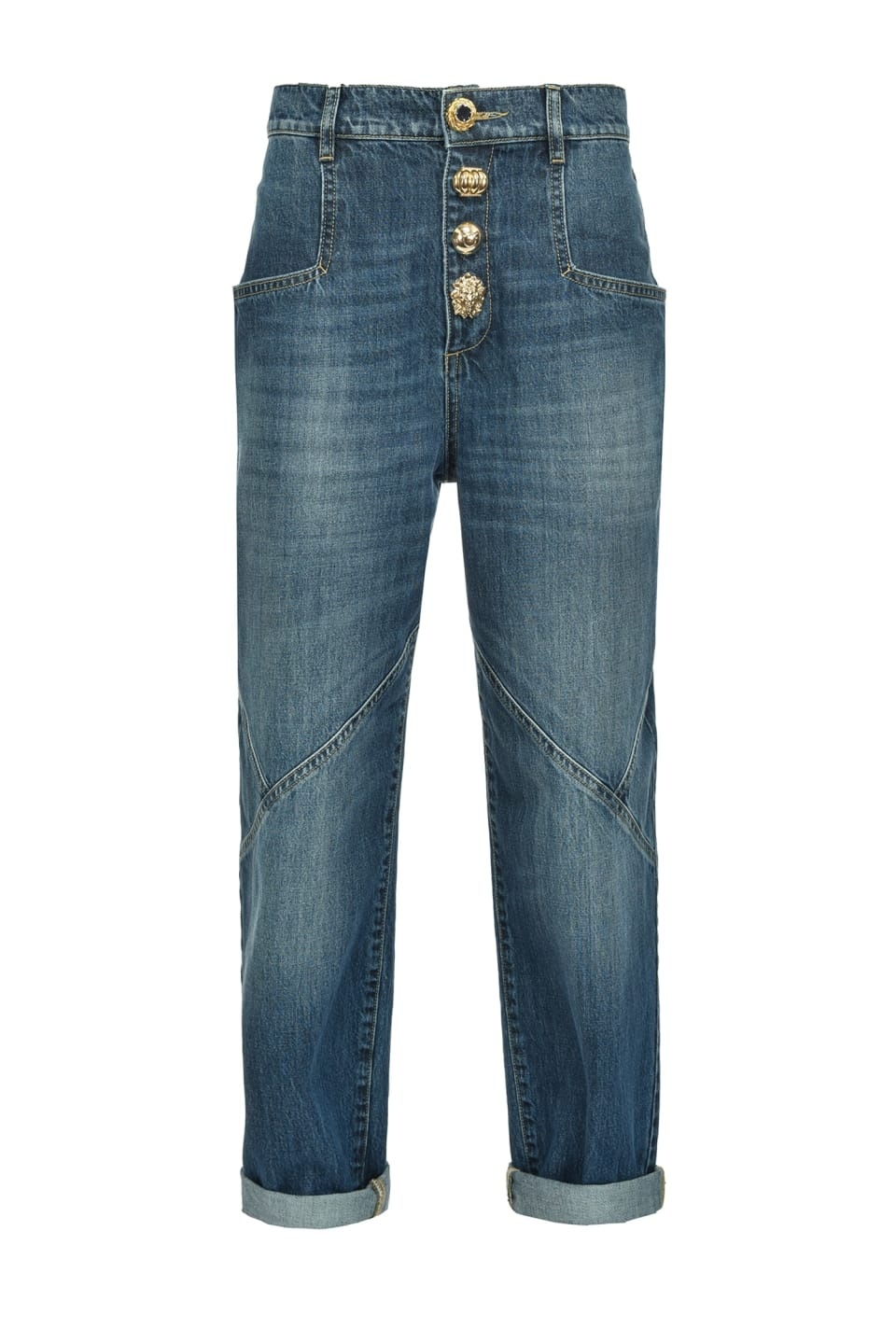 Mom-fit jeans with golden buttons