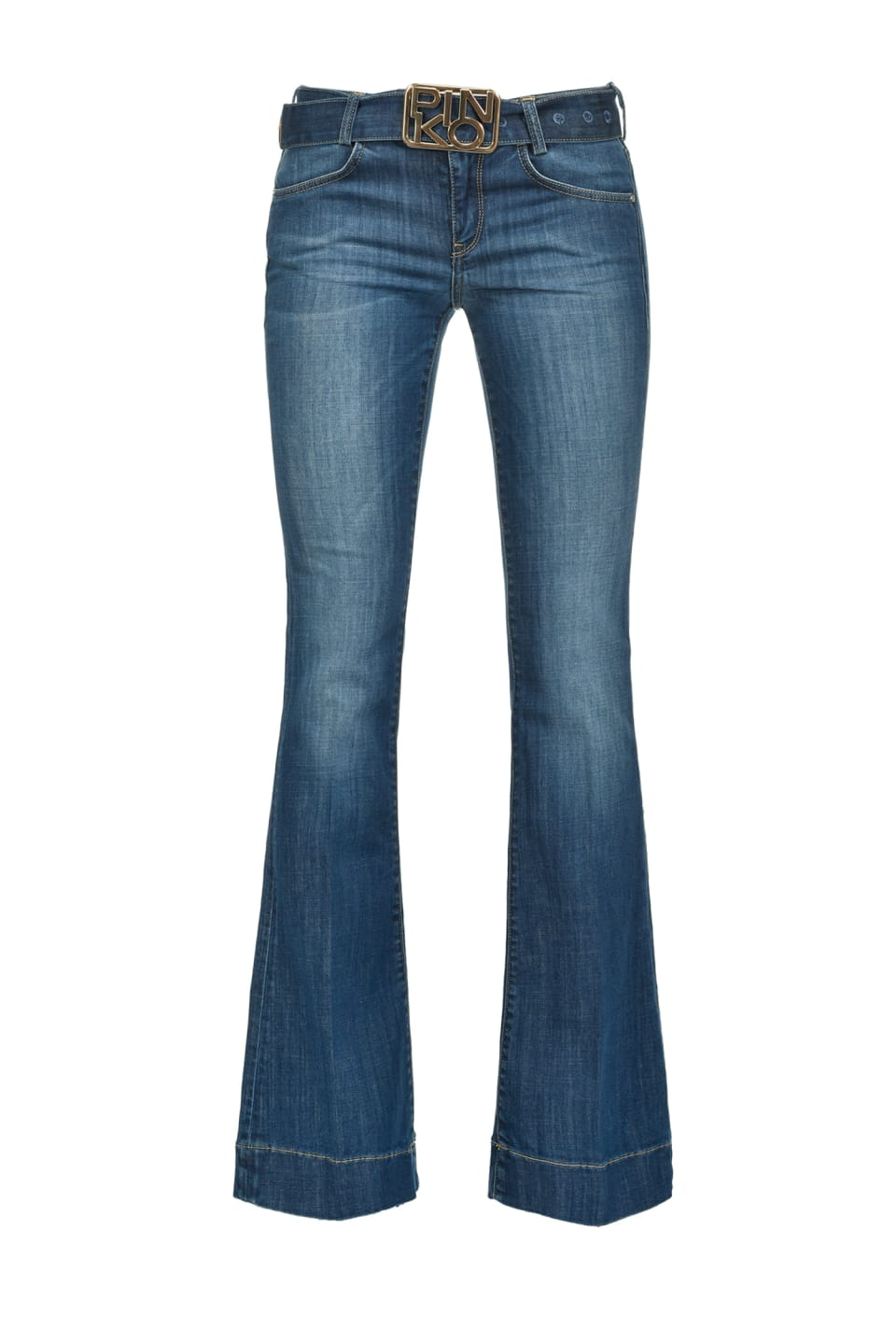 Flare-fit jeans with belt