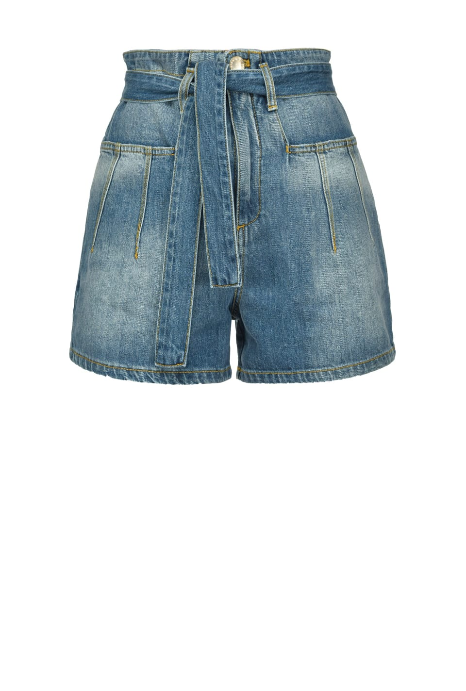 Denim shorts with topstitching