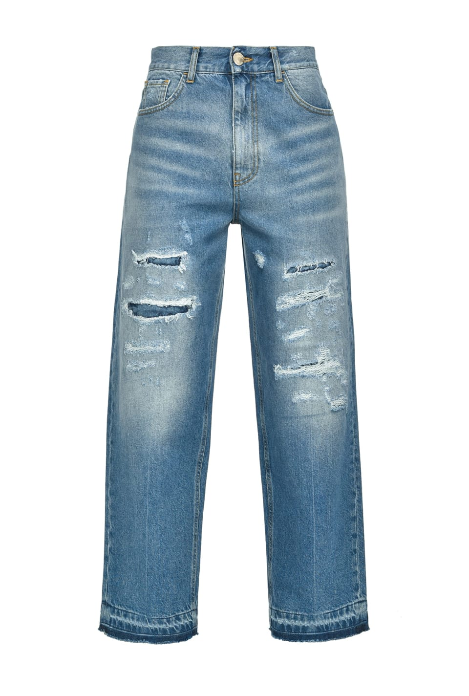 Mom-fit jeans with rips