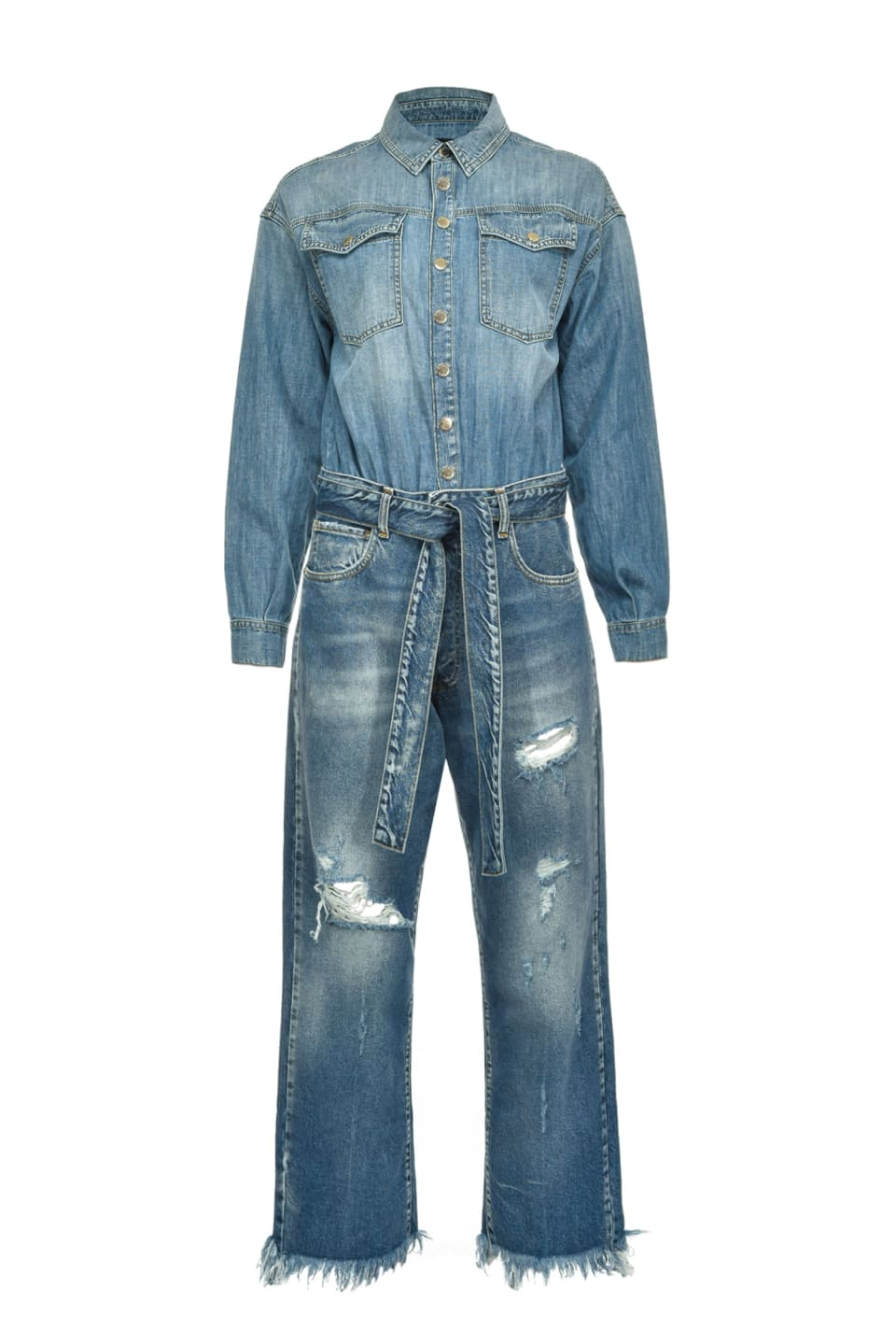 Total denim jumpsuit with rips