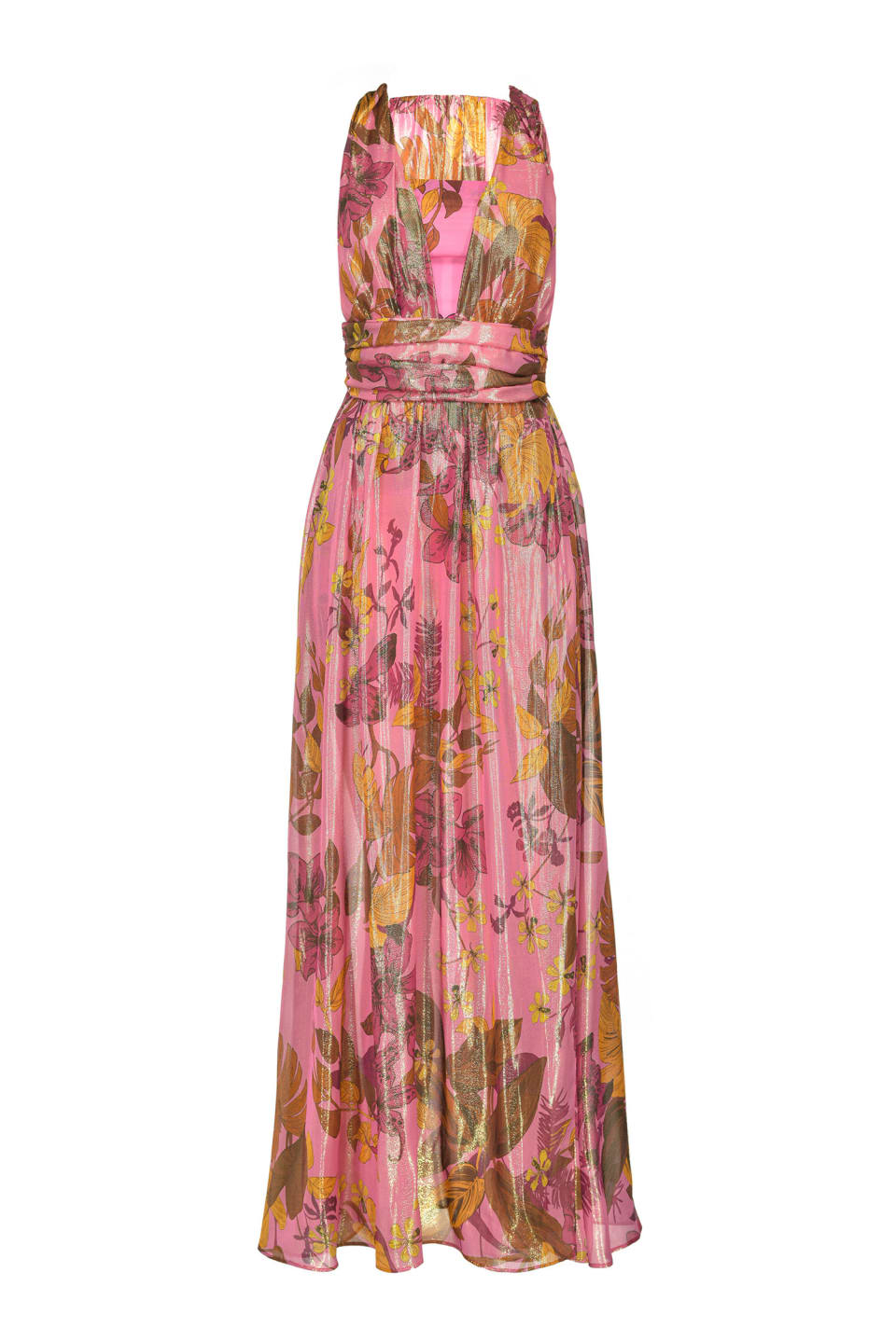 Floral lurex long dress