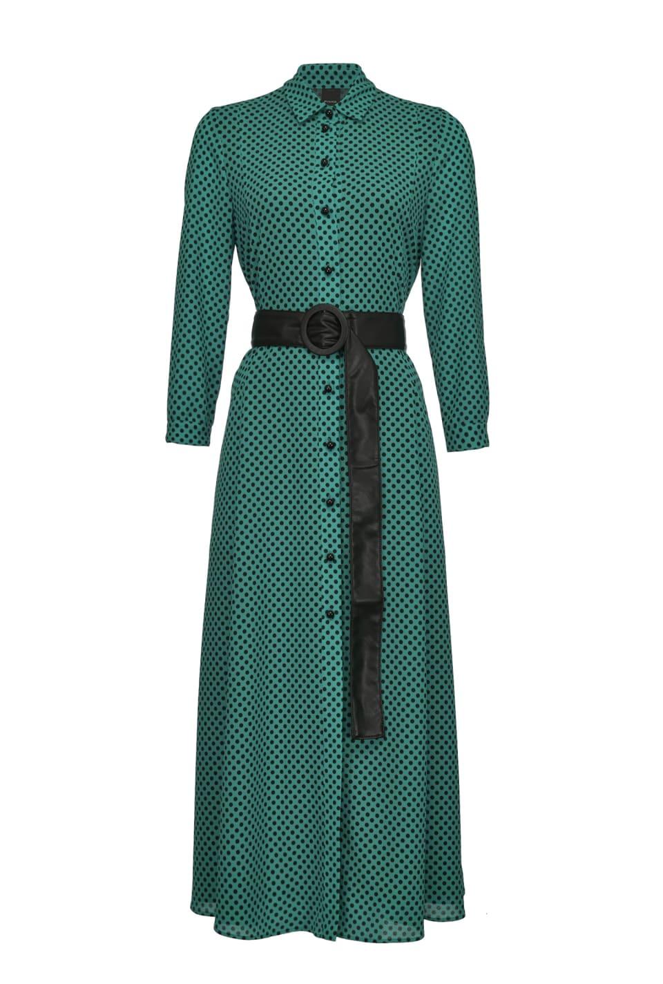 Maxi polka-dot shirtwaister dress