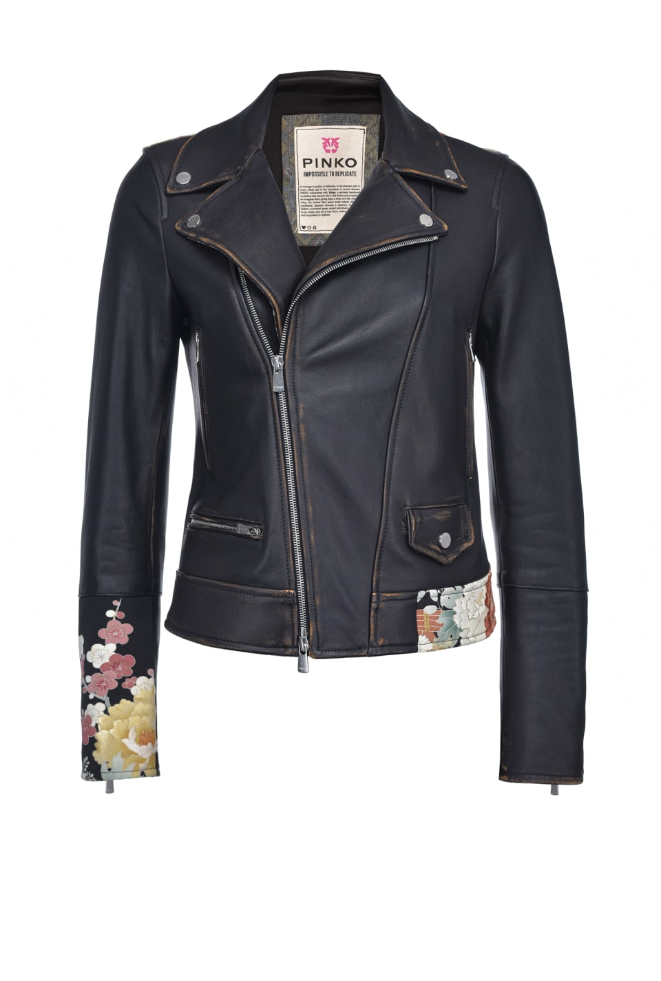 Limited Edition biker jacket in leather and kimono in silk - Pinko