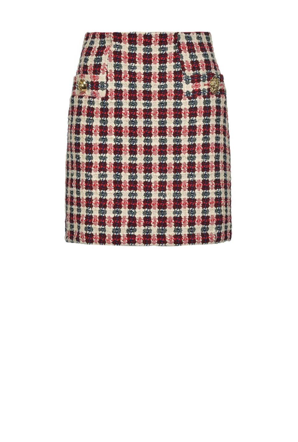 Checked jacquard bouclé mini skirt - Pinko
