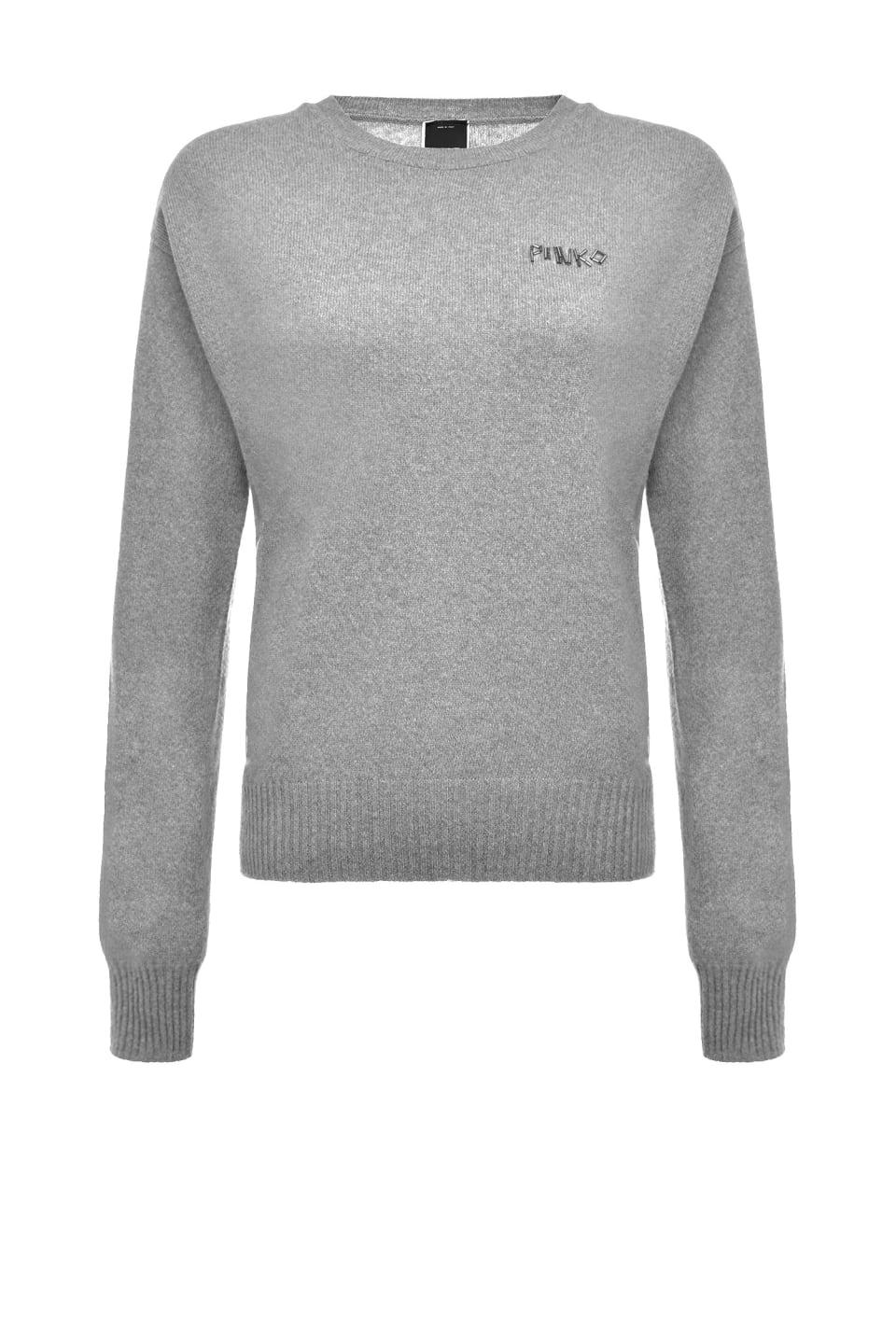 配有刺绣和可拆卸衣领的羊毛套头衫 - Pinko