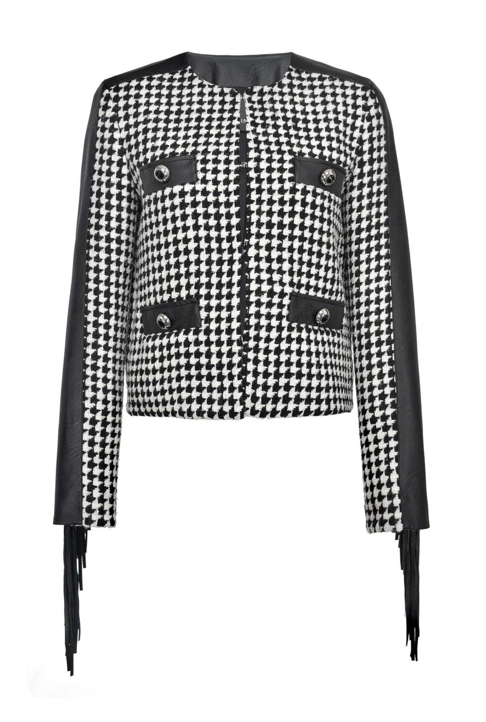 Houndstooth jacket with fringing - Pinko