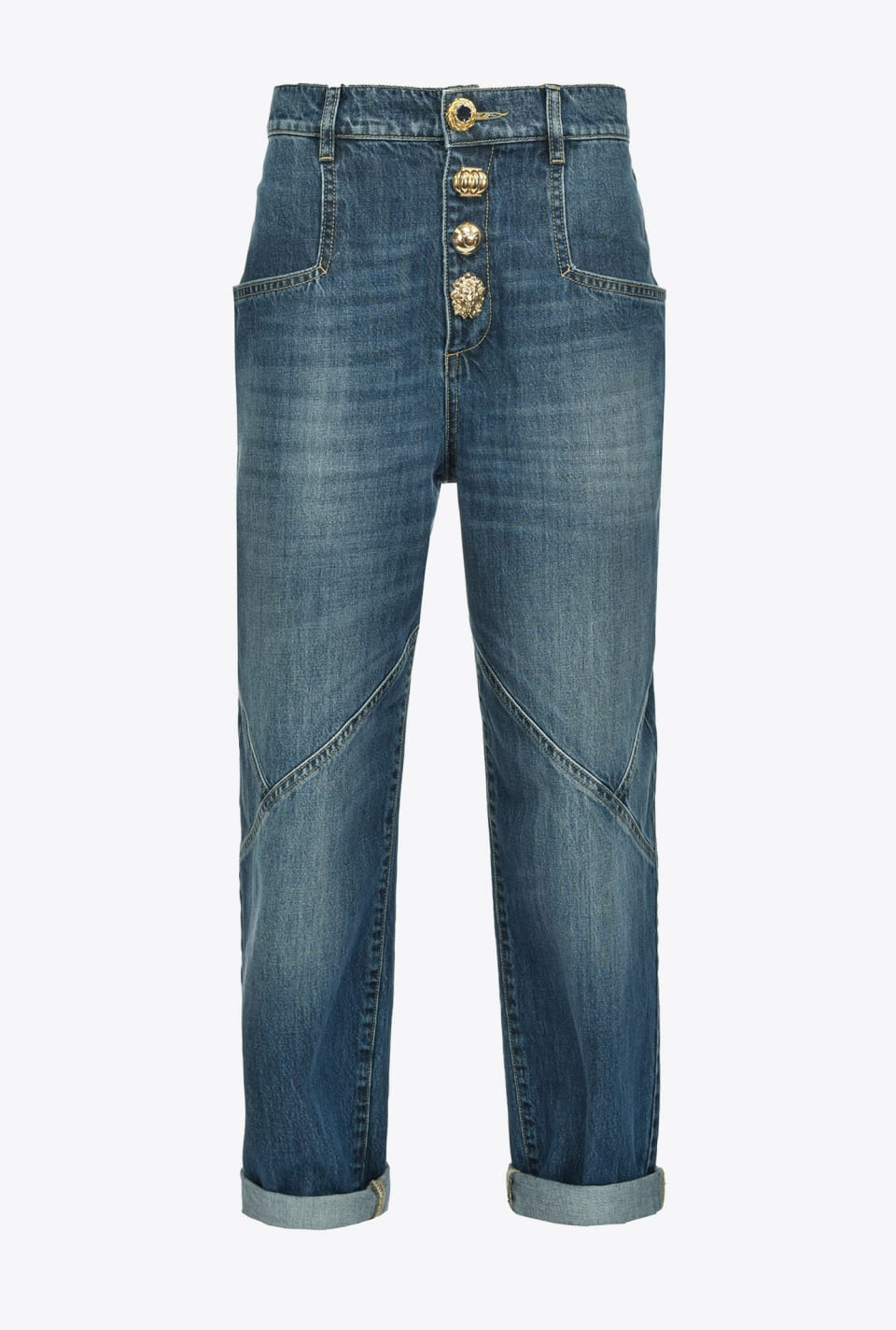 Mom-fit jeans with golden buttons - Pinko