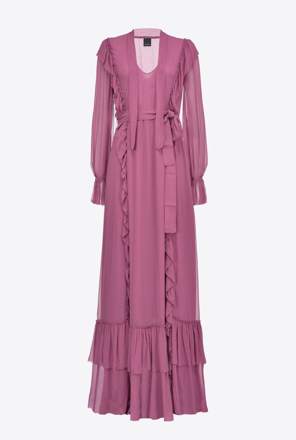 Flounced crepon maxi dress - Pinko