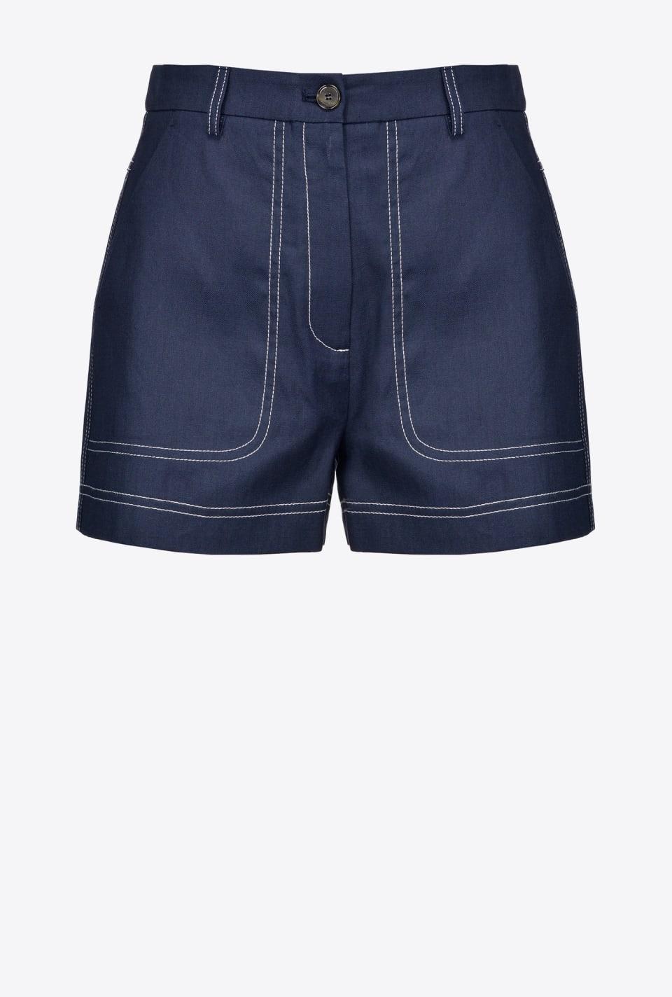 Topstitching-embellished cotton shorts - Pinko