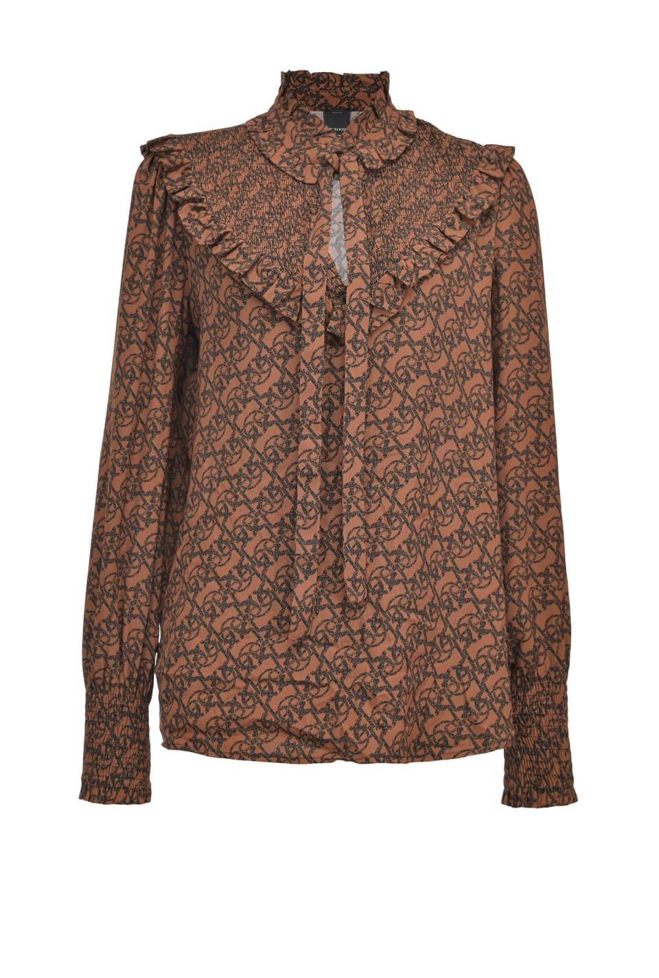 Monogram print blouse - Pinko