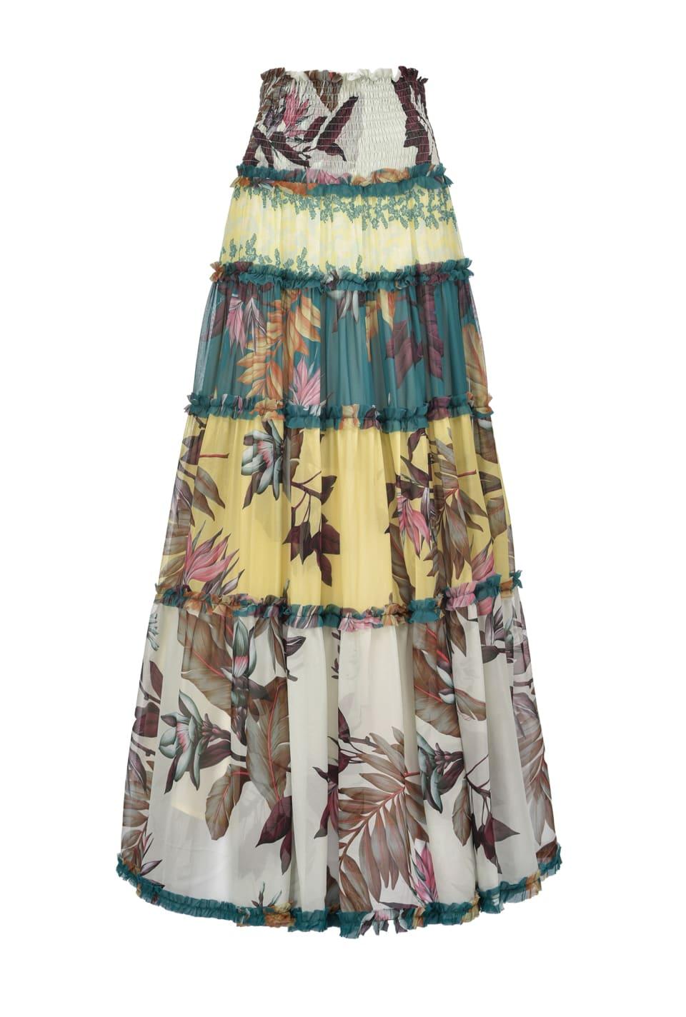 Floral-ruffle maxi skirt - Pinko