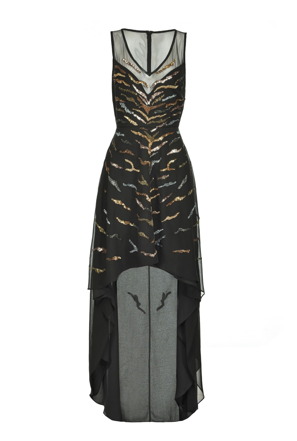 Long tigerskin-embroidery dress - Pinko