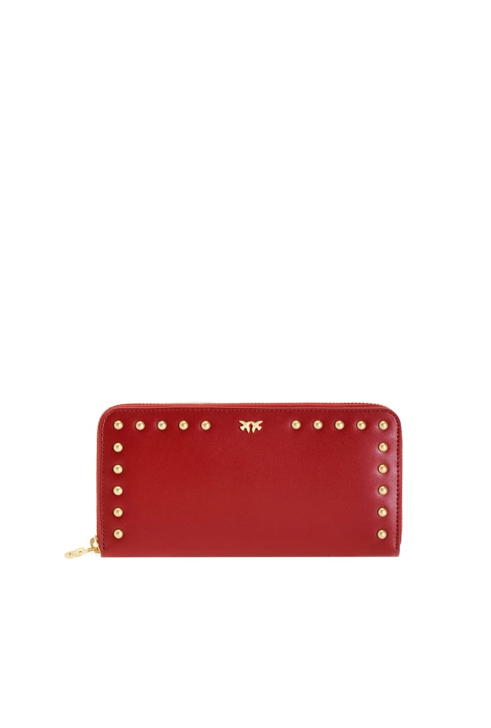Zip-around leather wallet with studs