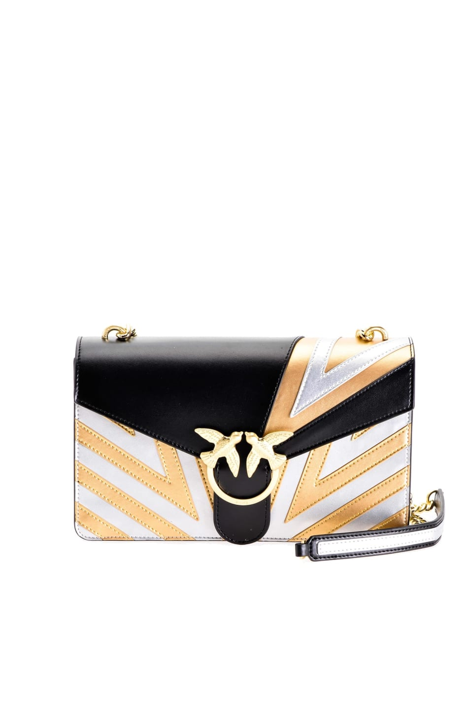 Chevron Love Bag in laminated leather