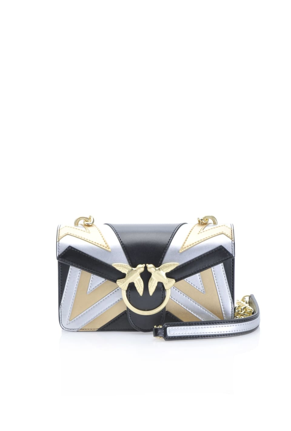 Chevron Mini Love Bag in laminated leather