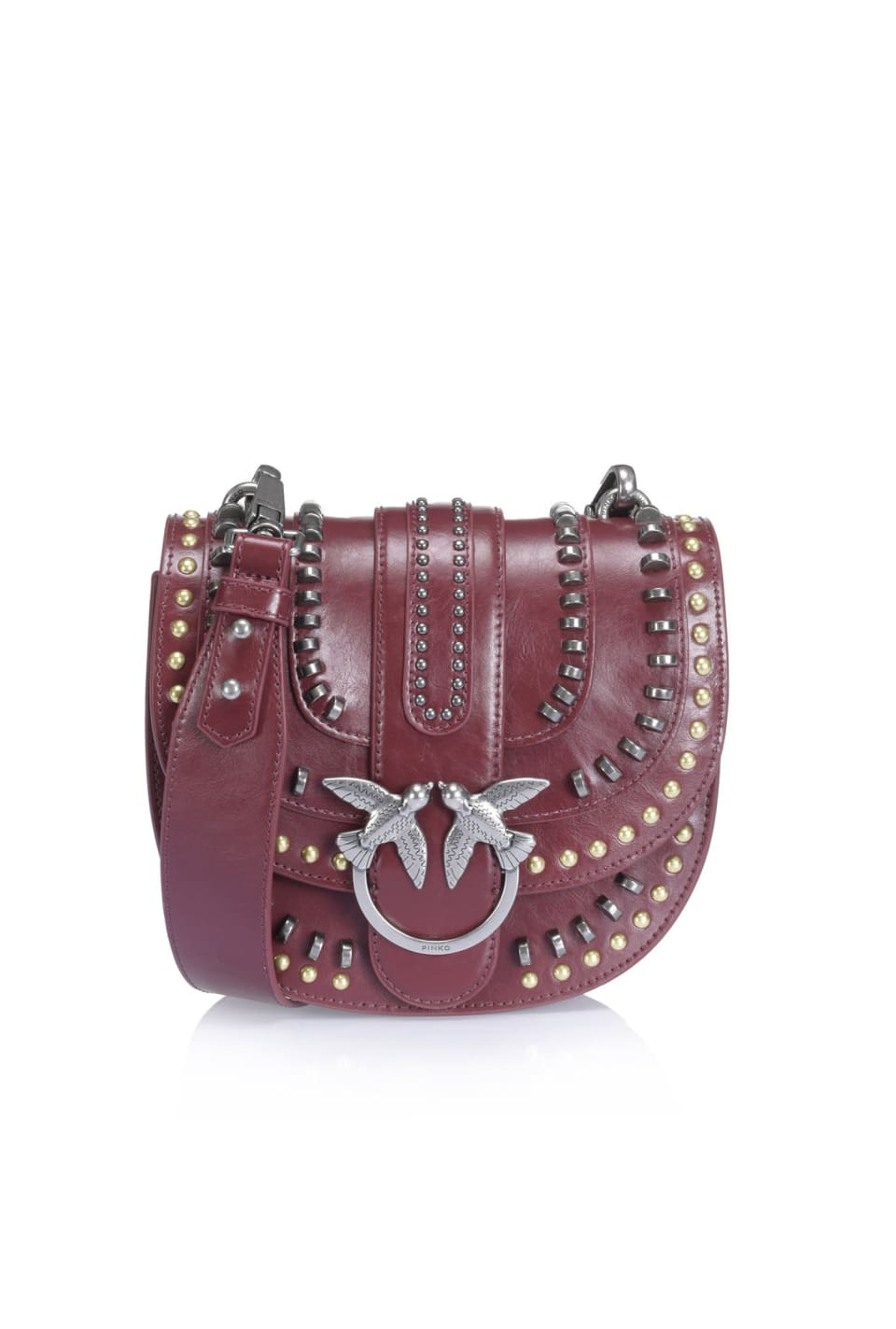 Mix Studs Round Love Bag in leather